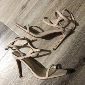 suede strappy nude square toe heels